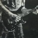 """Gitarren-Portrait"" Acryl & Kreide auf Holzplatte"